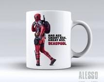 DEADPOOL MUG. Personalised Marvel Deadpool coffee/tea mug. Custom name X-Men/Avengers movie inspired gift for men or women. Nerd geek love