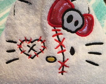 Hooded towel Zombie Kitty Personalized