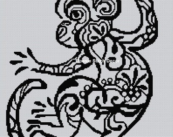 Blackwork Monkey Cross Stitch Chart
