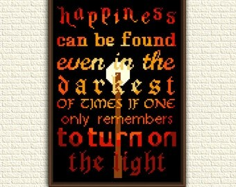 Harry Potter Cross Stitch Pattern pdf - Happiness can be found - Turn on the light - Dumbledore - x stitch - geeky book quote - KbK-032