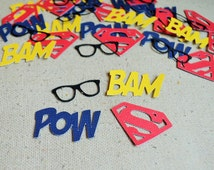Superman Confetti- Scrapbooking- Birthday- Table Decor- Pinata- Baby Shower Confetti