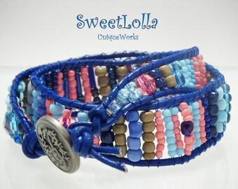 Bohemian Jewelry, Leather Bracelet, Leather Wrap Bracelet, Stacked Friendship Bracelet, Good Luck Bracelet, Boho Bohemian Chic