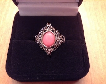 Sterling Silver Filigree and Stone Ring