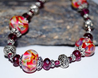 Red Lampwork, Garnet and Silver Bead Bracelet
