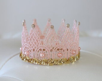 Pink And Gold Crown, Newborn Crown, Baby Crown, Newborn Photo Prop, Newborn Tiara, Lace Crown, Princess Crown, Photo Prop