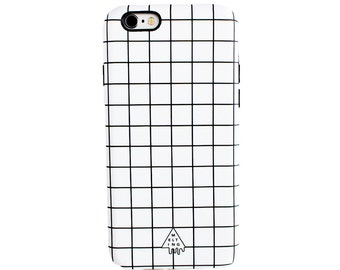 White Grid Phone Case | Tough Cute Hipster Aesthetic Tumblr Minimalistic Matte iPhone 5 5s SE 6 6s Plus