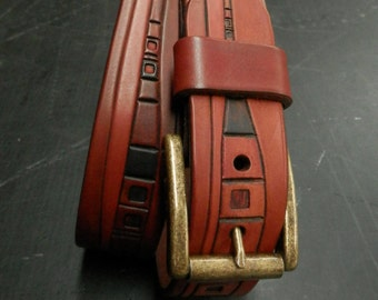 Red Tan brown abstract  carved leather belt