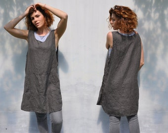 Linen full bbq apron with pockets / Japan linen home and work tunic smock / No ties garden linen apron dress