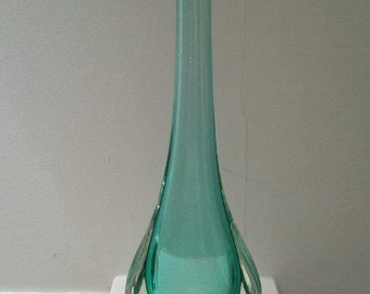 Formia Murano Gocce Teal and Clear Vase