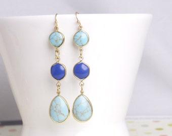 Turquoise dangle earring,Lapis lazuli drop earring,gemstone drop earring,mothers day gift,birthday present