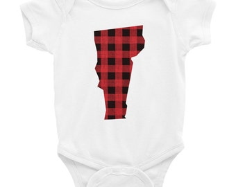 Vermont Baby Outfit | Vermont Body Suit | Vermont Bodysuit | Plaid Vermont | Vermont Baby Gift | Vermont Baby Gift | Paul Bunyan