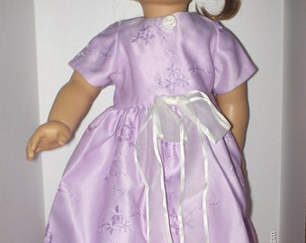 Handmade doll clothes will fit 18 inch size dolls purple satin long dress