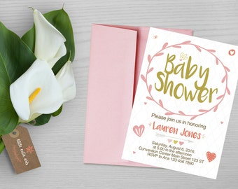 Girly Sweet Pink Baby Shower Invitation