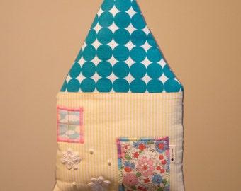 Hair bow holder, Hair bow organizer - Turquoise roof house cushion