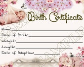 CHERRY BLOSSOMS Reborn Baby Doll Birth Certificate Instant Download You Print PNG Jpeg and Pdf files for 8x10