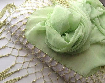 Italian green silk scarf vintage with pearl beads