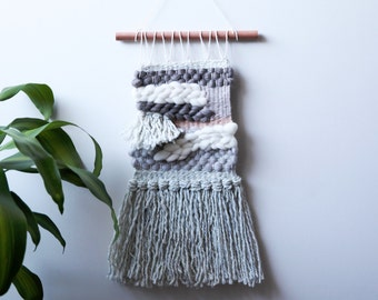 """SALE Shades of Gray Woven Wall Hanging 12 x 21"""""""