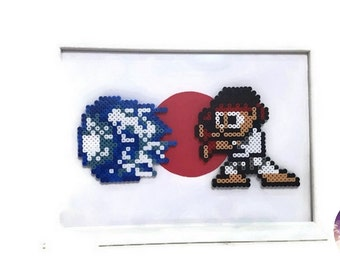 Ryu Hadoken Street Fighter Picture Frame Video Game [Pixel Art Hama Beads]