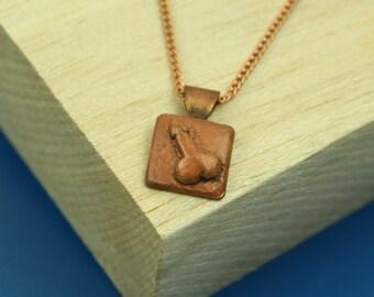 Vintage Copper Penis Necklace