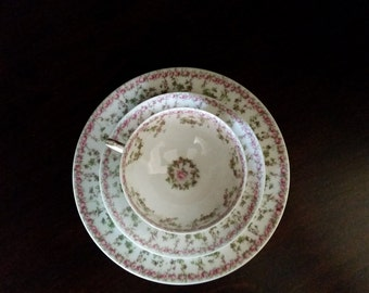 Limoges Tea Cup with Saucer and Plate