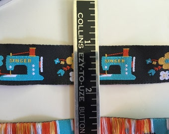 Singer Sewing Machines Ribbon yardage. New on roll. Jennifer Jones for Renaissance ribbons. Turquoise Blue  with Flowers on Black jacquard
