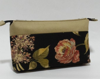 Black Botanical Printed Cotton Makeup Bag, Zippered Pouch, Cosmetic Bag, gift ideas for women