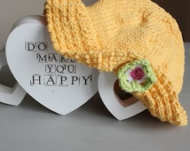 Hand Knitted Cool Cotton Sunflower Yellow Baby Girls Sun Hat - 0-6 Months - UK Seller