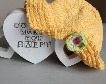 Hand Knitted Cool Cotton Sunflower Yellow Baby Girls Sun Hat - 0-6 Months - UK Seller
