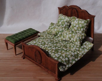 Miniature French Style Bed - Stained Mahogany or Dark Walnut / Bedding 17 colors