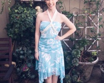 Light Blue and White Dress