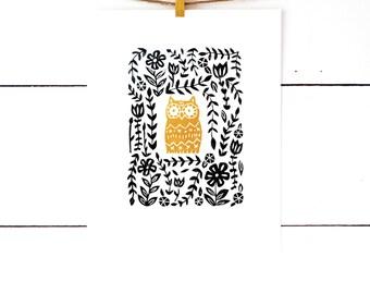 Owl Print, Owl Decor, Woodland Nursery Decor, Kids Room Art, Owl Nursery Art, Lino Print, Linocut Print,  Art for Children, Block Print Art