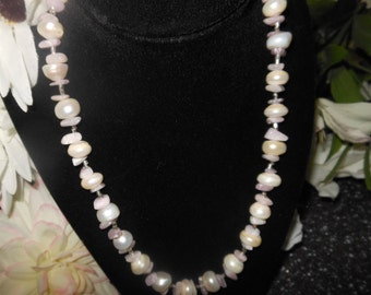 FRESHWATER PEARL FANTASY: Large Radiant Pearls Sandwiched between Baby Pink Kunzite Chips Necklace (Sale)