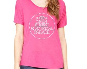 Disney Shirts Ladies Slouchy Tee Main Street Electrical Parade shirt Disneyland Shirt Disney World Shirt womens shirt  Magic Kingdom Tee