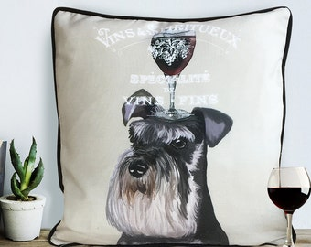 Schnauzer gifts wine gift for wine lover miniature schnauzer pillow miniature Schnauzer cushion dog pillow cover gift for dog lover
