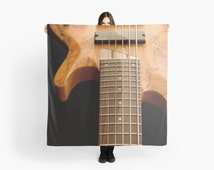 Guitar Scarf, Chic Scarf, Unique Gift for Her, Music Scarf, Black and Brown Scarf, Soft Modern Fashion Accessory, Musical Instrument Photo