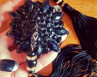 "The ""Back to Black"" burlesque pasties, nipple tassel,  nipple covers"