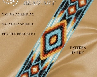 Pattern, peyote bracelet - Native American Navajo inspired peyote bracelet cuff pattern in PDF - instant download