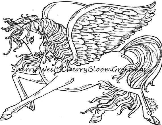 1 pegasus winged horse adult coloring page sherry west drawing for Black and white horse coloring pages