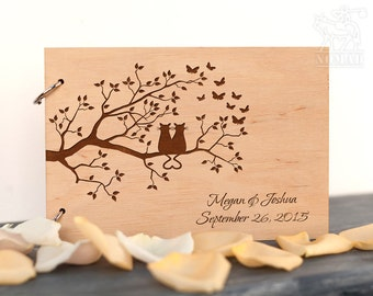 Wooden Wedding Guest Book Custom Rustic Wedding Guest Book Lover of Cats Laser Engraved Bridal Shower Anniversary Gift wedding guestbook