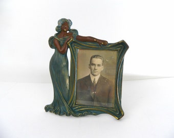 Vintage Picture Frame...1940s Brass Lady Picture Frame...Blue Brass Frame with Elegant Lady in Dress...Antique Picture Frame...