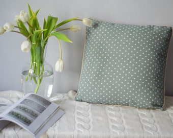 Natural linen pillow cover. Pillow With Piping - 45x45 cm. Сozy pale blue linen pillowcase. Pure linen decorative throw cushion cover