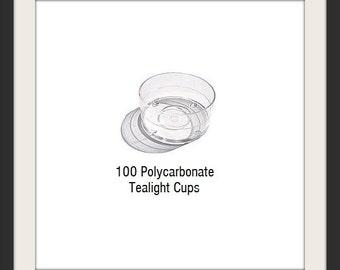 100 Tea light Cups - Clear Empty Polycarbonate Tealight Cups - Bulk Tealight Cups - Tealight Molds - Candle Supplies