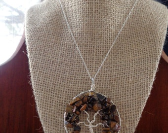 Tiger's eye Tree of life necklace.