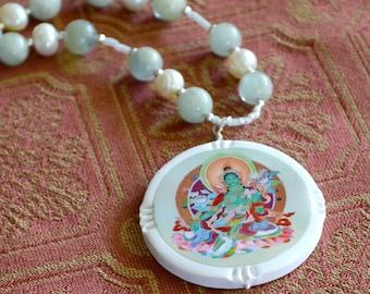 Green Tara, Aquamarine, Freshwater Pearls, beaded necklace, Bodhisattva, Tibetan Buddhism, one of a kind