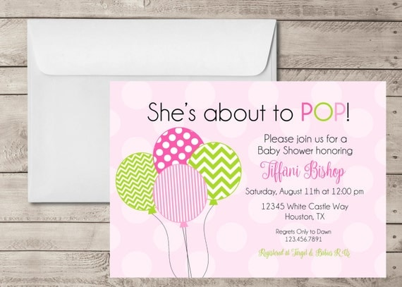she 39 s about to pop baby shower invitation custom girl baby shower
