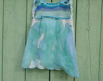 Dress asymmetrical boho crochet and cotton turquoise girl baby for 9 months