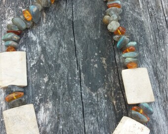 Labradorite, Amber & Fossilized Coral Necklace