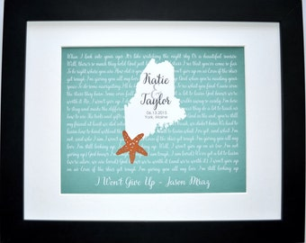 Custom beach wedding gift, bridal shower gift, engagement present, personalized wedding gift for bride, groom, starfish map, name date print
