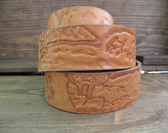 4 cm leather belt handmade coutry landscape