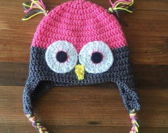 Hot pink crochet owl hat